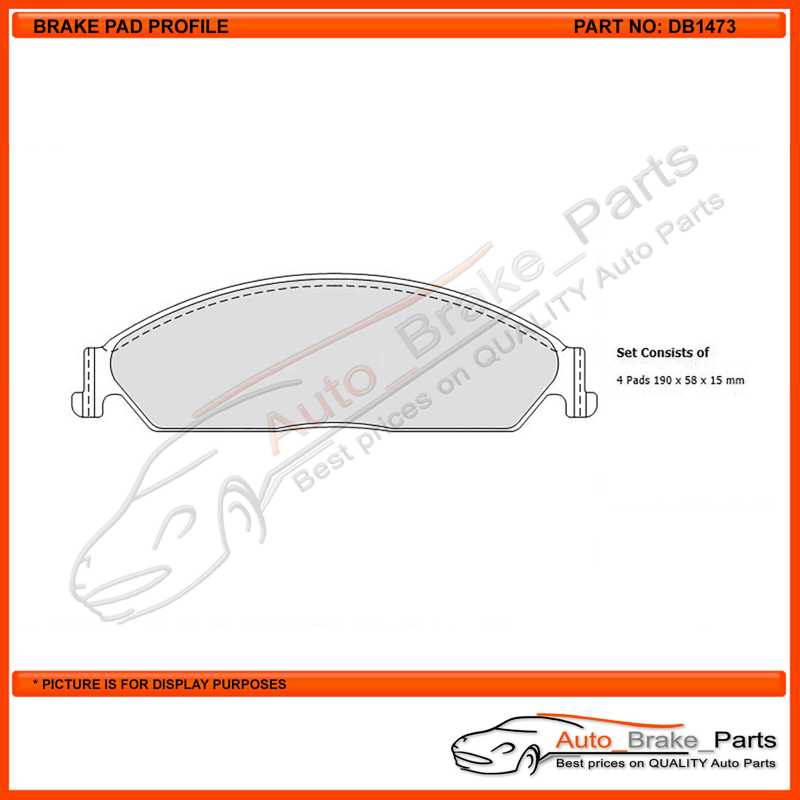 DB1473GCT 1 set x Bendix General CT Brake Pad FOR FORD TERRITORY SZ